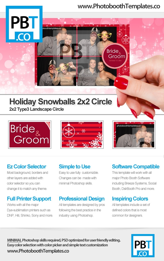 Holiday Snowballs 2x2 Circle