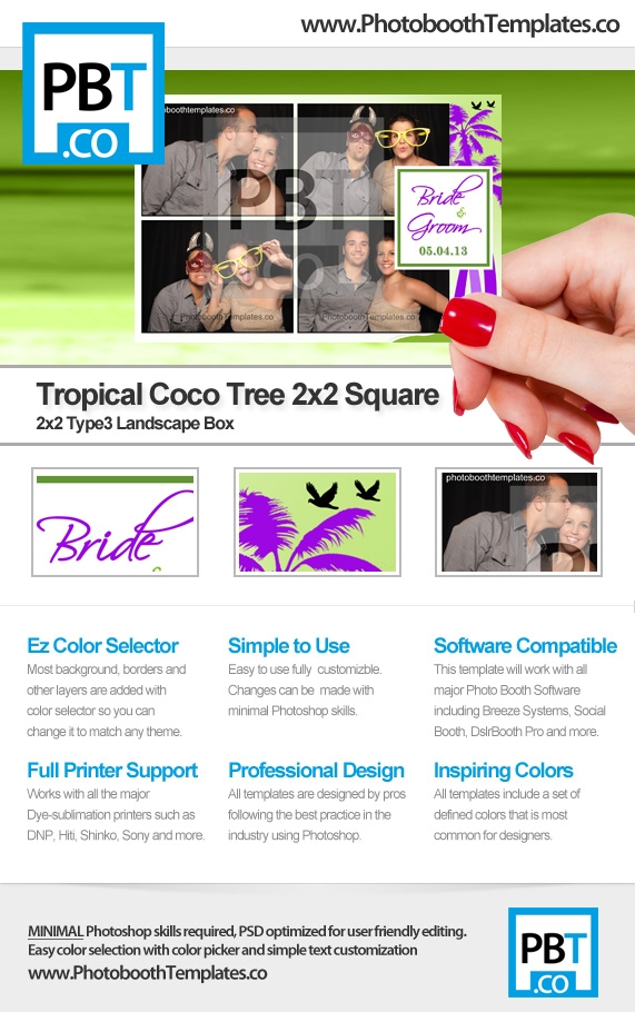 Tropical Coco Tree 2x2 Square