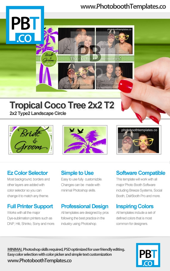Tropical Coco Tree 2x2 T2