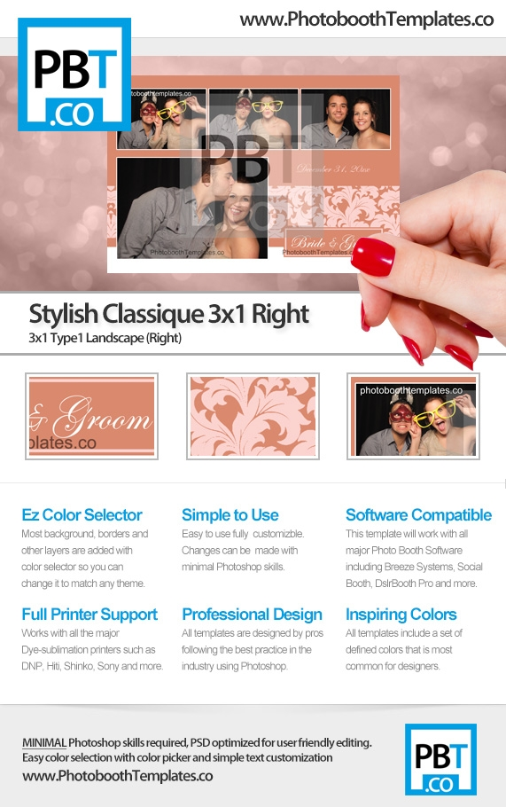 Stylish Classic Floral 3x1 Right